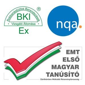 tanúsítványaink BKI Ex Emt NQA - MARTOS Gázérzékelők Kft.