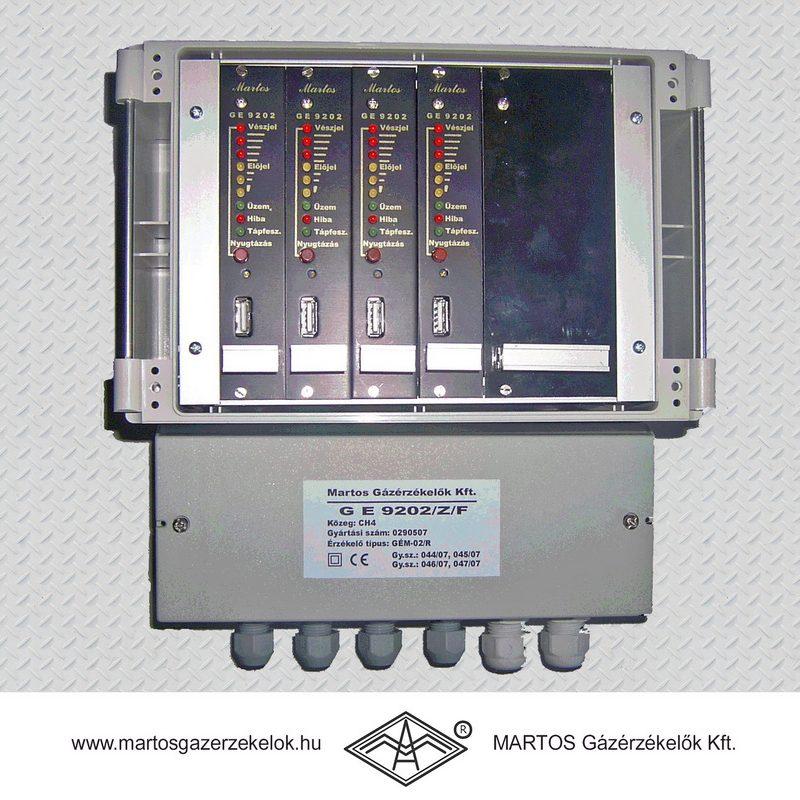 A képen látható többcsatornás gázérzékelő metán (CH4) közegre van hitelesítve. Gyártó MARTOS Gázérzékelők Kft.